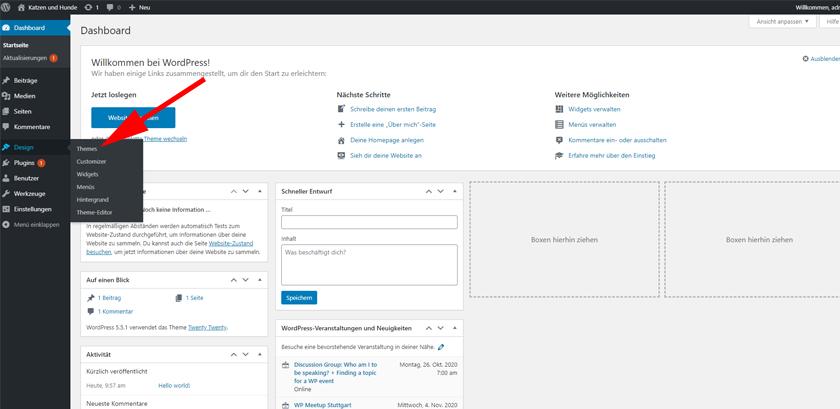 WordPress Design Menü