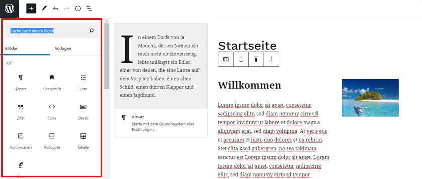 WordPress Gutenberg Elemente