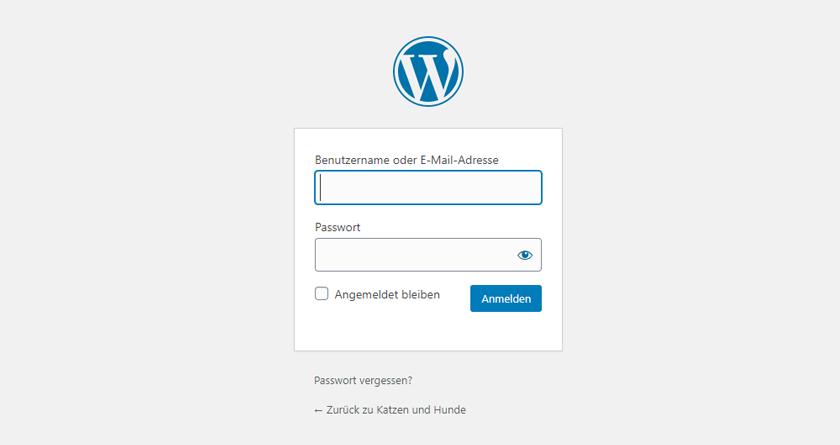 WordPress Webseite Login