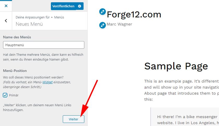 WordPress Menu anlegen