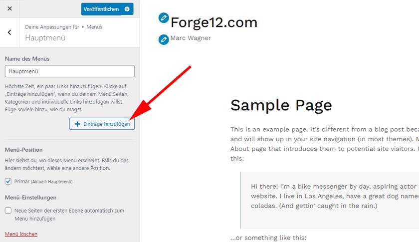 WordPress Menu Einträge hinzufügen