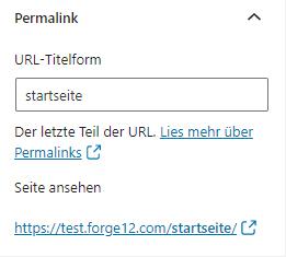 WordPress Permalink Startseite
