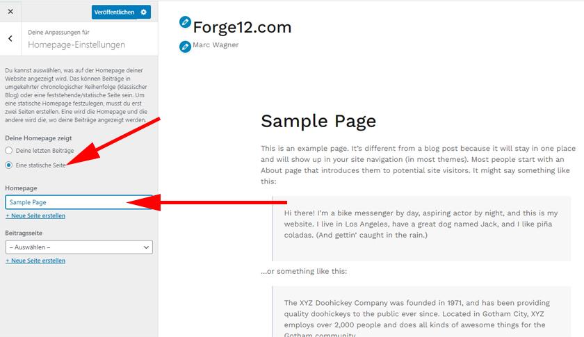 WordPress - Statische Seite