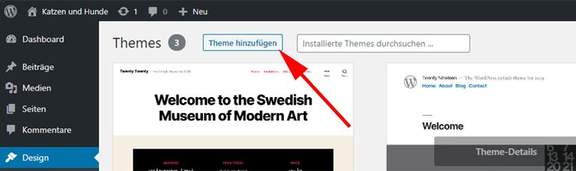 WordPress Theme hinzufügen