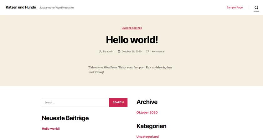 WordPress Webseite nach der Erstinstallation