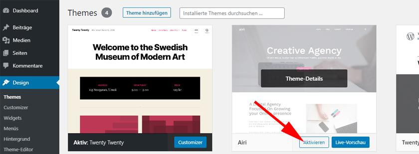 WordPress Theme aktivieren