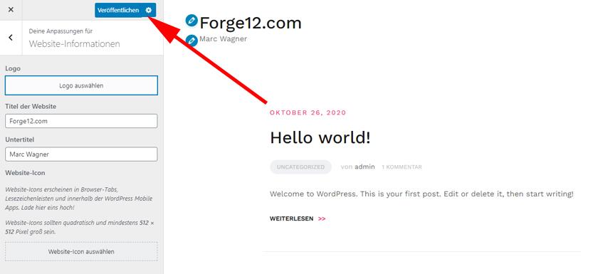 WordPress - Slogan und Name anpassen