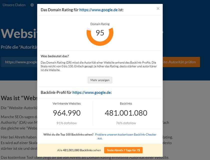 Domain Rating Google
