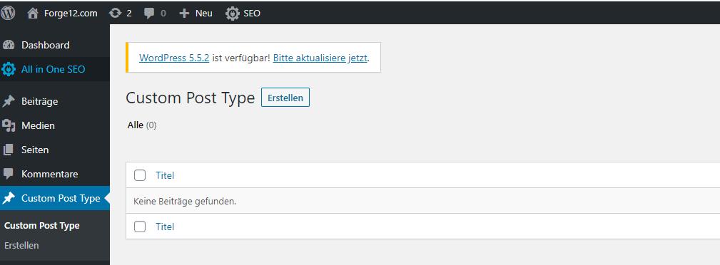 WordPress Custom Post Type Backend Beispiel